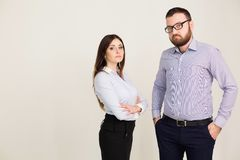 Business man and woman in the Office work partners Royalty Free Stock Photos