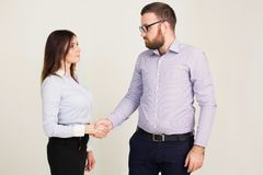 Business man and woman in the office work partners Stock Photo