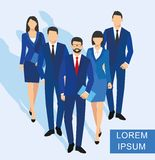 Business men and women silhouette. team business people group hold document folders Royalty Free Stock Photo