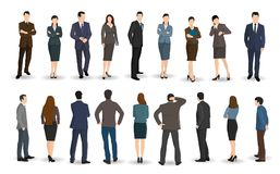 Business men and women stand facing or back stock illustration