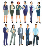 Business men and women. Standing in business attire on white background Stock Photo