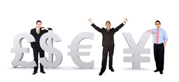 Business men with world currencies Royalty Free Stock Photography