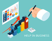 Business mentor help partner. Isometric 3d vector Royalty Free Stock Images