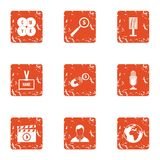 Business mentor icons set, grunge style. Business mentor icons set. Grunge set of 9 business mentor vector icons for web isolated on white background Stock Photos