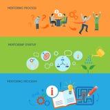 Business mentoring flat horizontal banners set Stock Photo