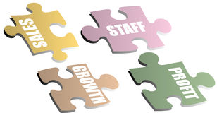 Business metaphor. Jigsaw pieces with a drop shadow showing a business metaphor royalty free illustration