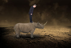 Business Metaphor, Sales, Marketing, Success. A businessman stands on top of a rhinoceros in a metaphor for business, sales, marketing, and success. Unique and Royalty Free Stock Images