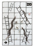 Business metaphor snakes and ladders, many dice. Many dice - many choices and decisions. Business risk reward metaphor Royalty Free Stock Photo