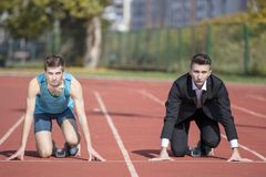 Business metaphore of staying ahead, winning in business. Stock Image