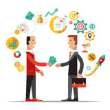 Business Metaphors, Handshake ,Investment, Partner. Business metaphors Partner vector illustration flat style Royalty Free Stock Photos