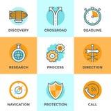 Business metaphors line icons set Stock Photos
