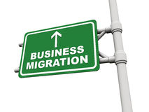 Business migration. Road banner with words business migration, concept of business movement, migration and off shoring Stock Image