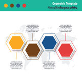 Business minimal infographic. Business minimal 3d infographic template, geometric infographic layout, vector design element royalty free illustration