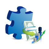 Business missing puzzle piece concept. Illustration design over white Stock Photography