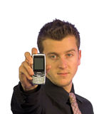 Business mobile - focus on mobile (white) Stock Photography