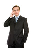 Business with a mobile phone. Isolated on white. Stock Photo