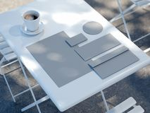Business mockup on the street table near restaurant, 3d rendering. White business mockup on the street table near restaurant, 3d rendering Royalty Free Stock Images