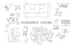 Business model canvas meeting hand drawing illustration. Business model canvas meeting  hand drawing illustration with chart, laptop, team collaboration Royalty Free Stock Images