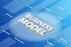 Business model isometric 3d word text concept with some related text and dot connected - vector. Illustration royalty free illustration