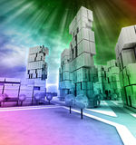 Business modern city rainbow colored with flare Royalty Free Stock Photo