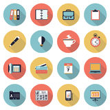 Business modern flat color icons. Stock Photo