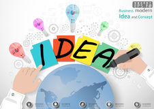 Vector Business modern Idea and Concept illustration with hand, Magic Pen, paper, lamp, cog, world. icon. Business modern Idea and Concept illustration with hand Stock Images