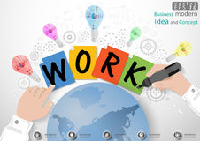 Vector Business modern Idea and Concept illustration with hand, Magic Pen, paper, lamp, cog, world. icon. Business modern Idea and Concept illustration with hand Royalty Free Stock Photography