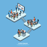 Business Modern Office Interior, Company Structure Floor. Businesspeople Group People Team Workplace 3d Isometric Vector Illustration Stock Photo