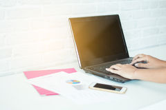 Business Modern women. With  laptops and mobile working Royalty Free Stock Images