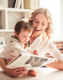 Business mom and baby boy Royalty Free Stock Photography