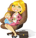 Business mom with baby boy in an office chair Royalty Free Stock Photos