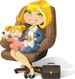 Business mom with baby girl in an office chair Stock Photos