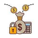 Business money bag calculator coins security stock illustration