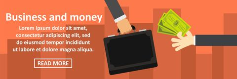 Business and money banner horizontal concept. Flat illustration of business and money banner horizontal vector concept for web Royalty Free Stock Photography