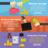 Business money banner set, flat style Stock Photography
