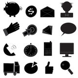 Business and money Black & White Icon Set. Vector illustration Royalty Free Stock Images