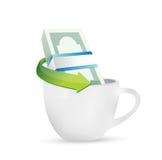 Business money and coffee mug. illustration Stock Images
