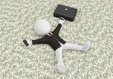 Business money. 3d white people lying on the money,3d image Royalty Free Stock Photo
