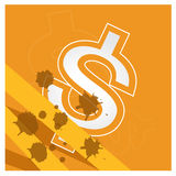 Business money dollar vector set orange background Royalty Free Stock Image