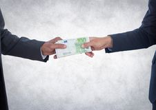 Business money exchange against white grunge background Stock Photos