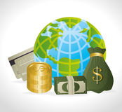 Business, money and global economy. Business,money and global economy with colorful icons, vector illustration eps 10 Royalty Free Stock Image