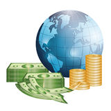 Business, money and global economy. Business, money profits and global economy, vector illustration Stock Images