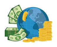 Business, money and global economy. Business, money profits and global economy, vector illustration Stock Photos