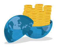 Business, money and global economy. Business, money profits and global economy, vector illustration Royalty Free Stock Photos
