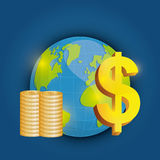 Business, money and global economy. Business, money profits and global economy, vector illustration Royalty Free Stock Photography