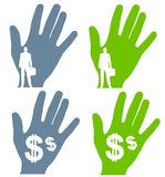 Business Money Hand Silhouettes Stock Photos