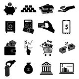 Business money icons set. In black Royalty Free Stock Images