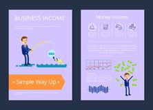 Business Income Simple Way Up Vector Illustration. Business and money income simple way up, pictures of man fishing currency, icons of wallet and scales, coins Stock Image