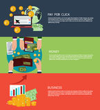 Business money and pay per click. Flat design concept of business money and pay per click internet advertising banners Stock Images