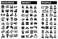 Business, money and people icon. Vector black business, money and people icons set Vector Illustration
